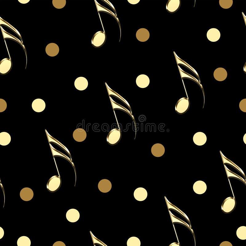 Modelo inconsútil con las notas musicales del oro sobre fondo negro stock de ilustración