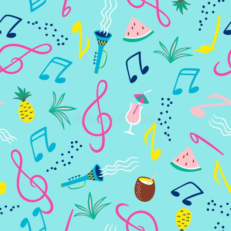 Modelo inconsútil con las notas musicales, los instrumentos y los símbolos del verano Vector libre illustration