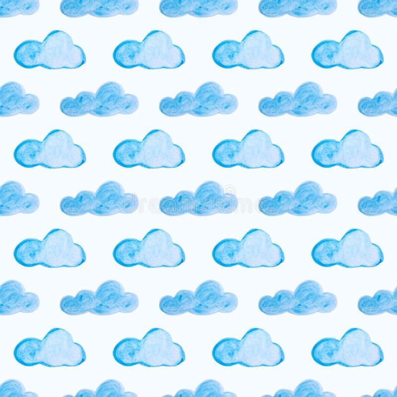 Modelo inconsútil con las nubes azules de la acuarela Fondo dibujado mano stock de ilustración