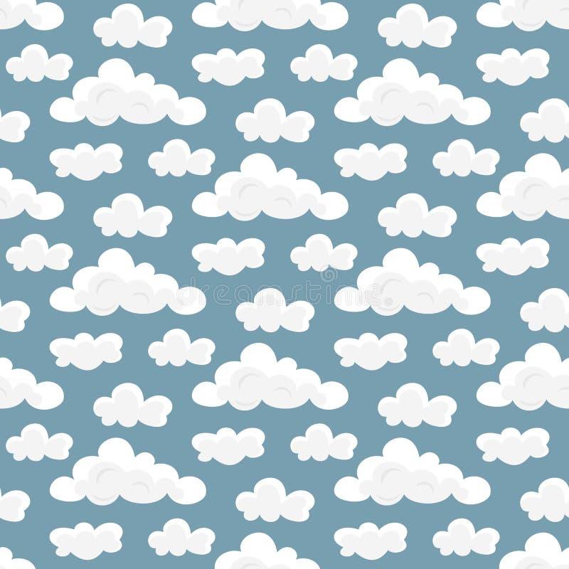 Modelo inconsútil con las nubes de la historieta stock de ilustración