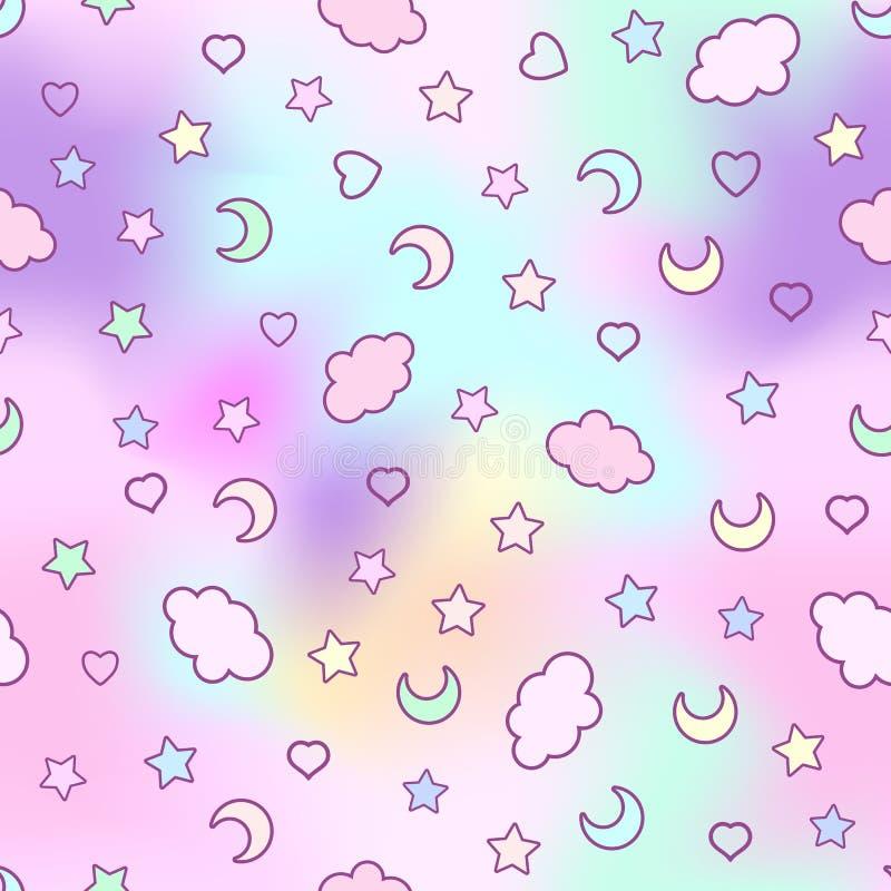 Modelo inconsútil con las nubes, luna, estrellas, y en el garabato stock de ilustración
