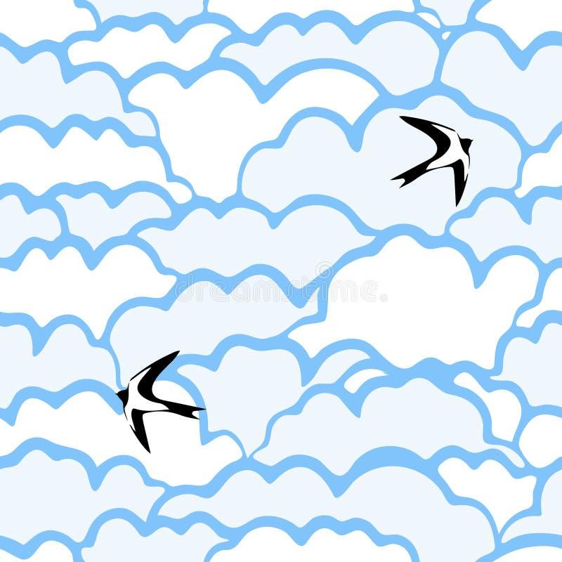 Modelo inconsútil con las nubes y los pájaros libre illustration