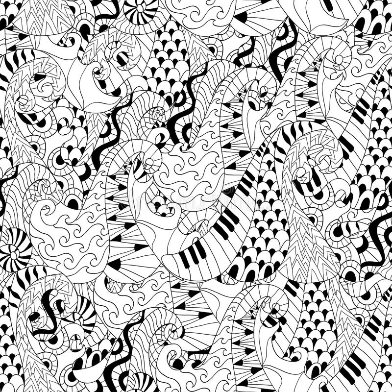Modelo inconsútil con las ondas para la página anti adulta del colorante de la tensión stock de ilustración
