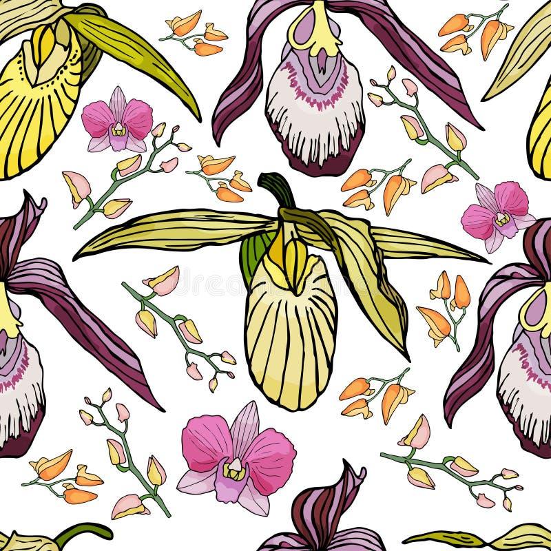 Modelo inconsútil con las orquídeas y los elementos florales stock de ilustración