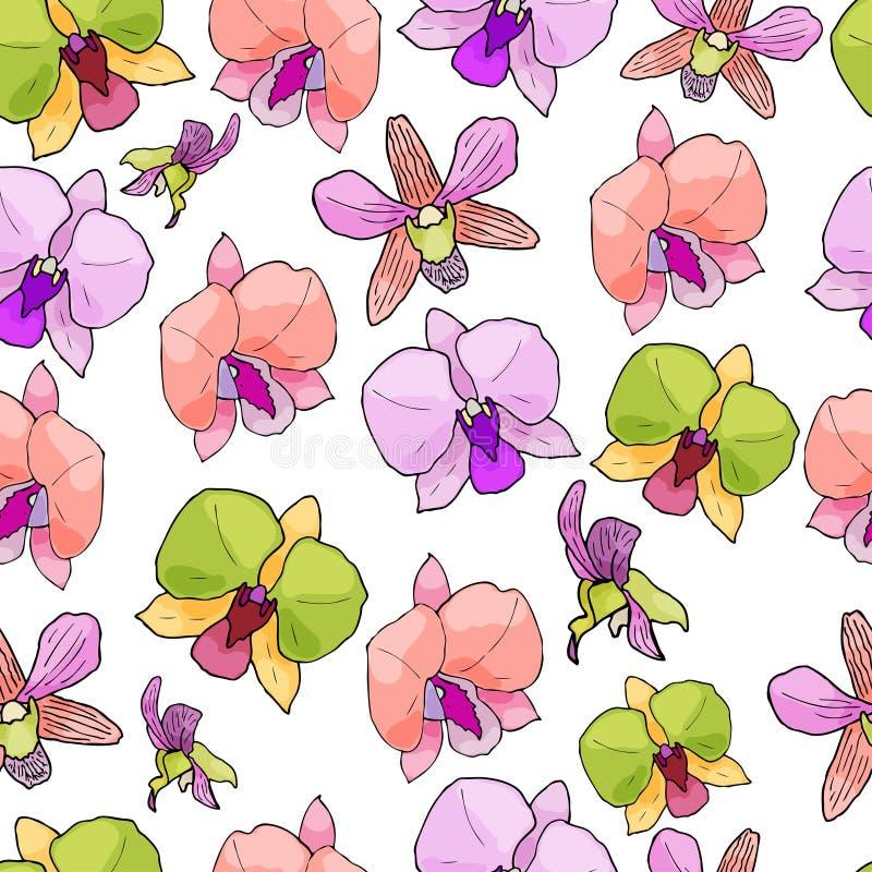 Modelo inconsútil con las orquídeas y los elementos florales ilustración del vector