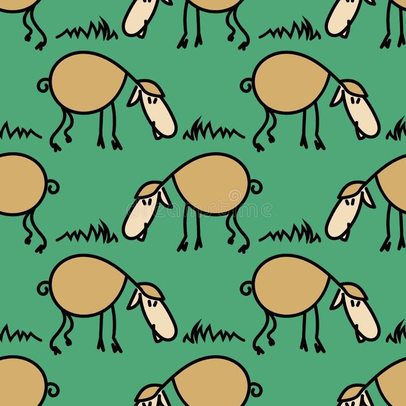 Modelo inconsútil con las ovejas en el prado Corderos divertidos Vector eps10 stock de ilustración