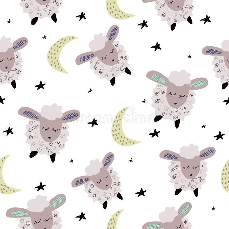 Modelo inconsútil con las ovejas lindas el dormir libre illustration