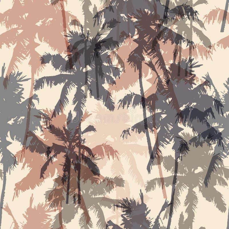 Modelo inconsútil con las palmeras ilustración del vector