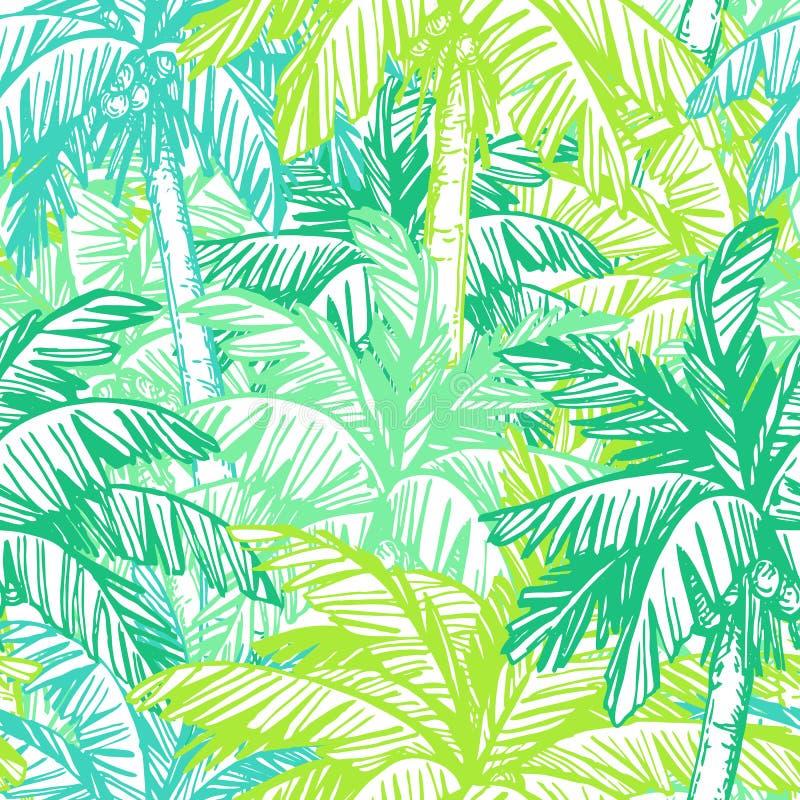 Modelo inconsútil con las palmeras del coco ilustración del vector