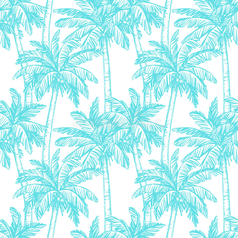 Modelo inconsútil con las palmeras del coco libre illustration