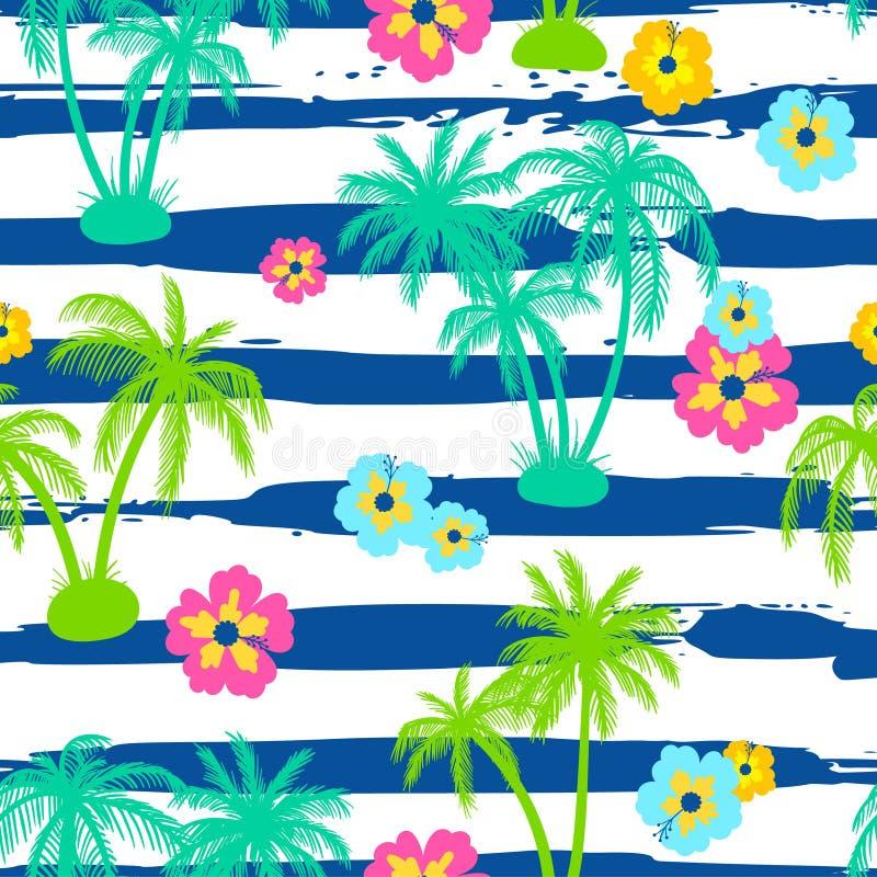 Modelo inconsútil con las palmeras y el hibisco ilustración del vector