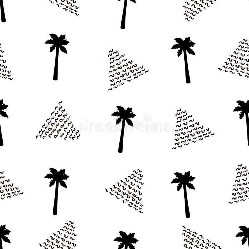 Modelo inconsútil con las palmeras y los triángulos negros libre illustration
