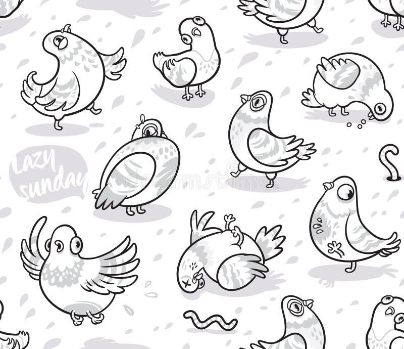 Modelo inconsútil con las palomas de la historieta en esquema Fondo de la tinta ilustración del vector