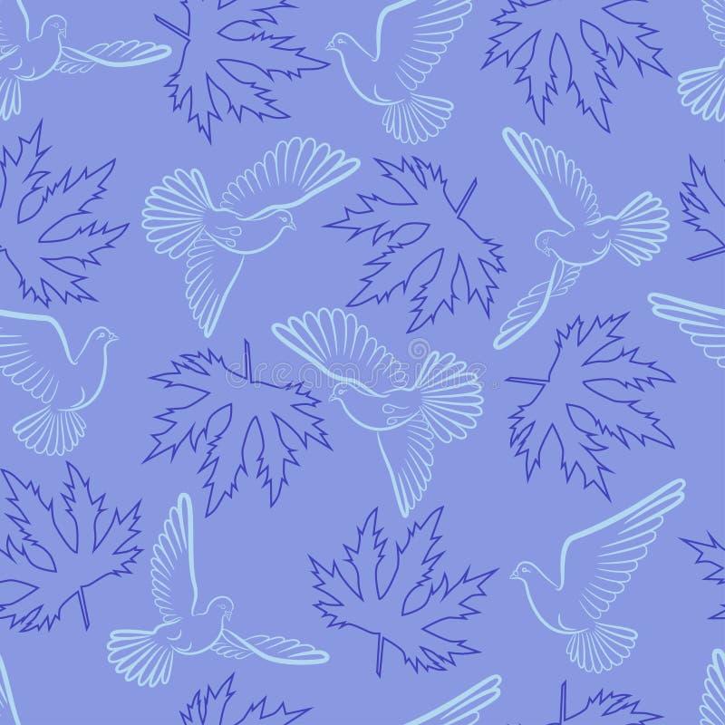 Modelo inconsútil con las palomas y las hojas en un fondo azul libre illustration
