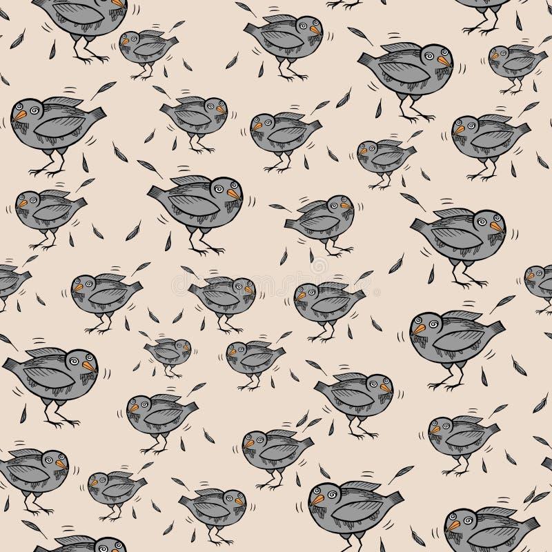 Modelo inconsútil con las palomas y las plumas divertidas de la historieta ilustración del vector