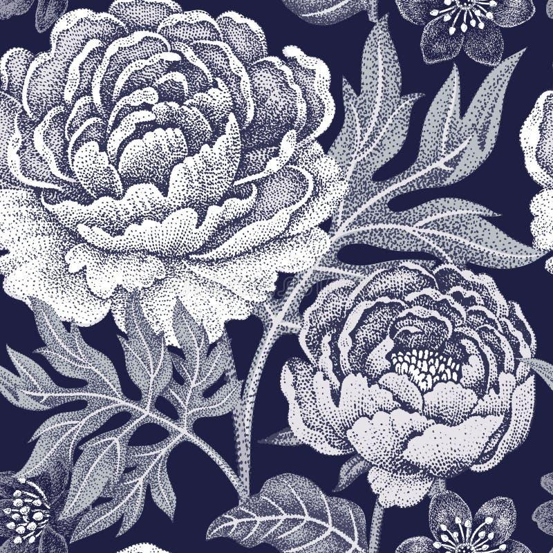 Modelo inconsútil con las peonías de las flores libre illustration