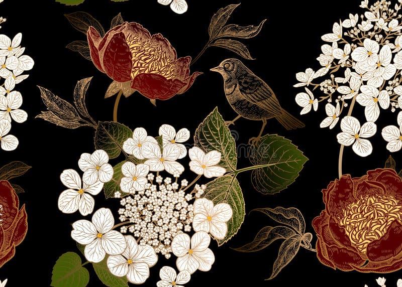 Modelo inconsútil con las peonías, las flores de la hortensia y los pequeños pájaros Fondo del vector stock de ilustración