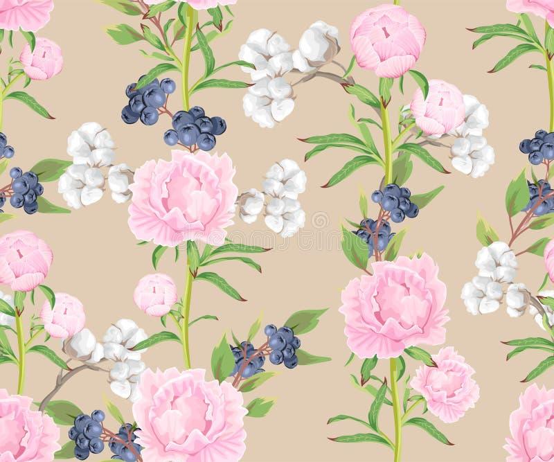Modelo inconsútil con las peonías, las flores del algodón y las bayas rosadas de la árnica imágenes de archivo libres de regalías