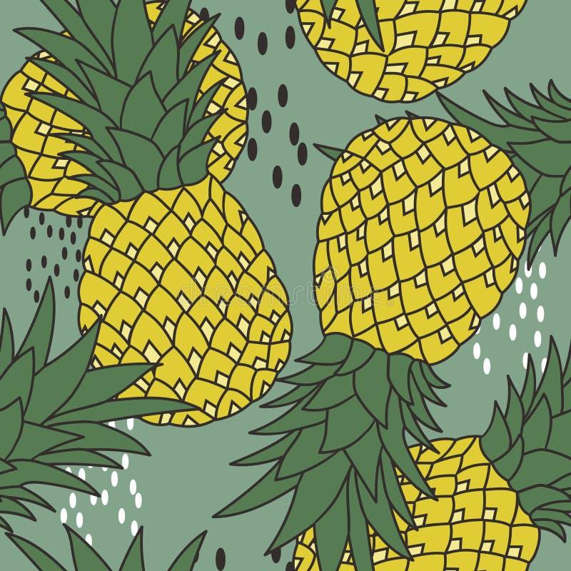 Modelo inconsútil con las piñas maduras Fondo colorido decorativo con las frutas stock de ilustración