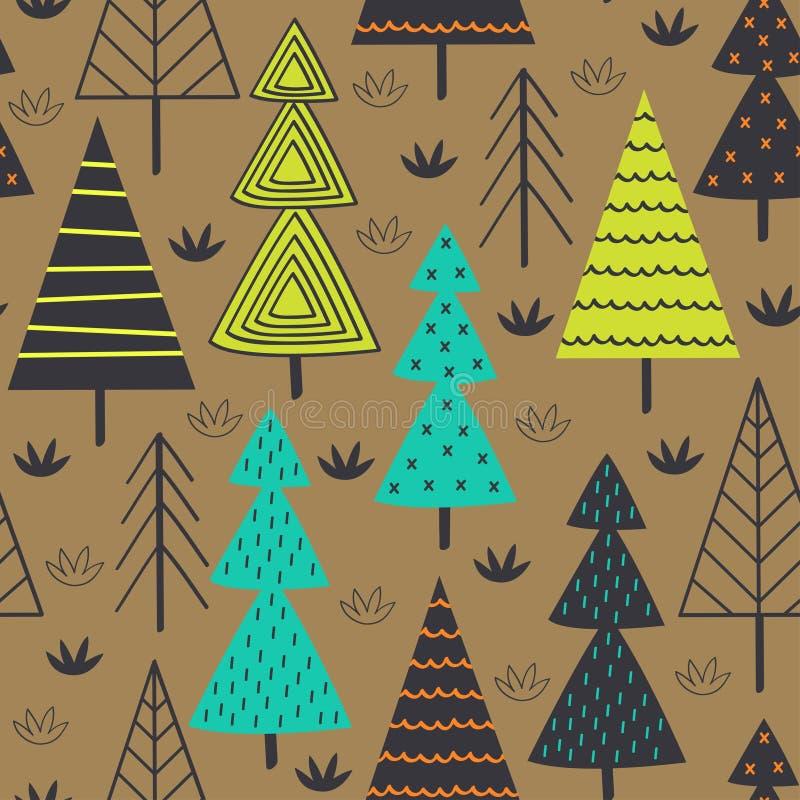 Modelo inconsútil con las piceas en el bosque ilustración del vector