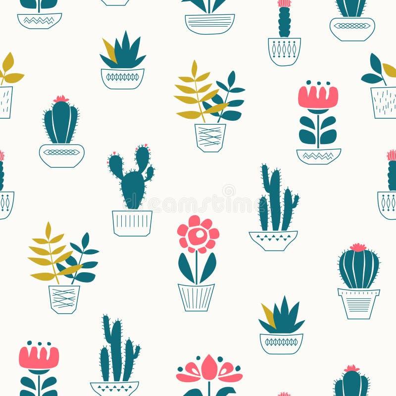 Modelo inconsútil con las plantas de la casa en potes libre illustration