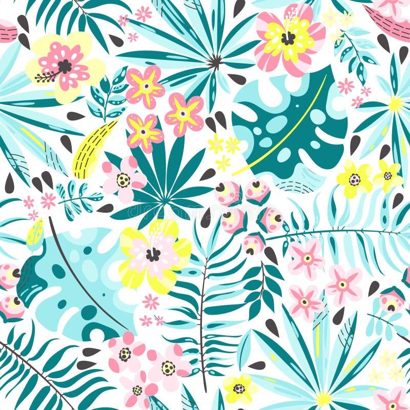 Modelo inconsútil con las plantas exóticas libre illustration