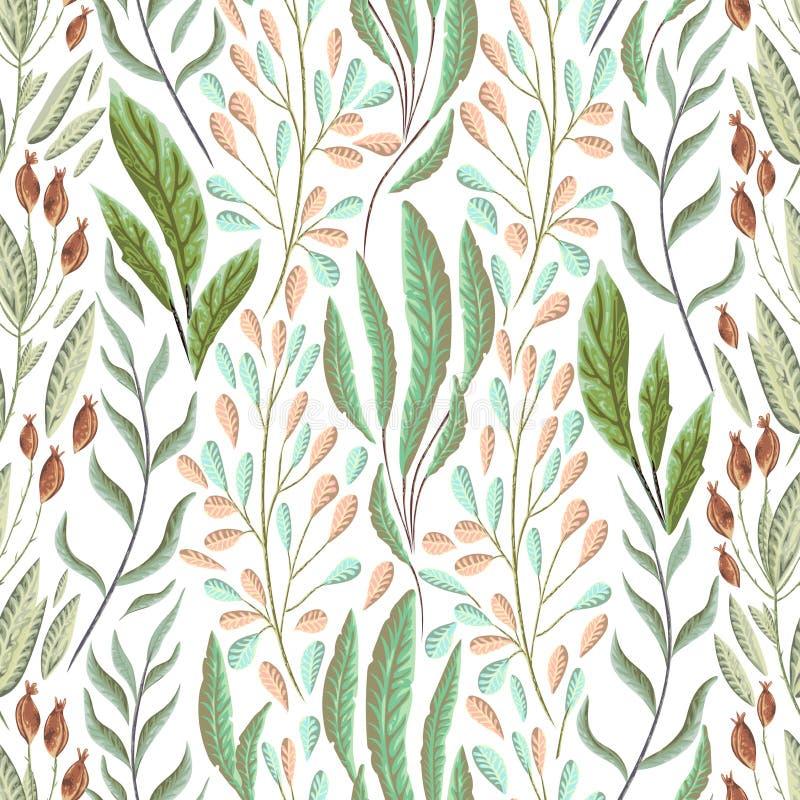 Modelo inconsútil con las plantas, las hojas y la alga marina marinas Flora marina dibujada mano en estilo de la acuarela libre illustration
