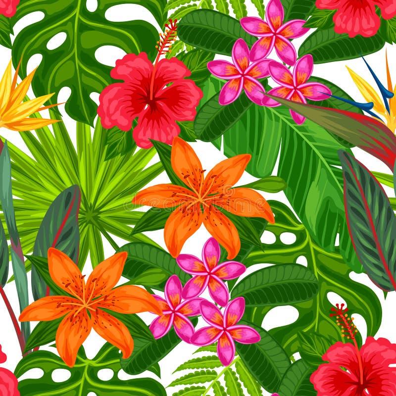 Modelo inconsútil con las plantas tropicales, las hojas y las flores stock de ilustración