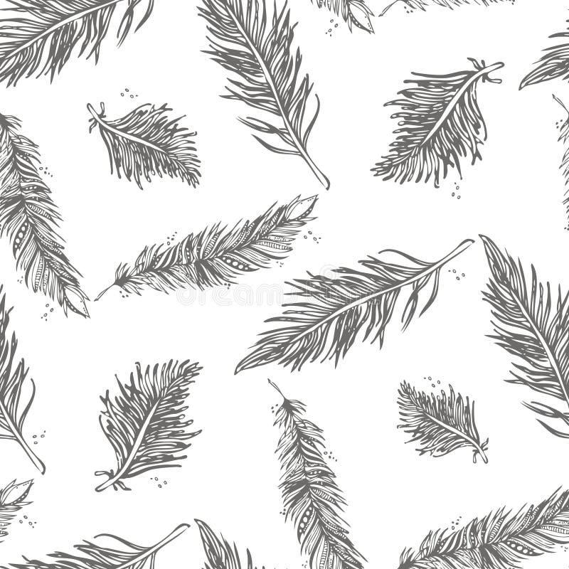 Modelo inconsútil con las plumas grises en un fondo blanco ilustración del vector
