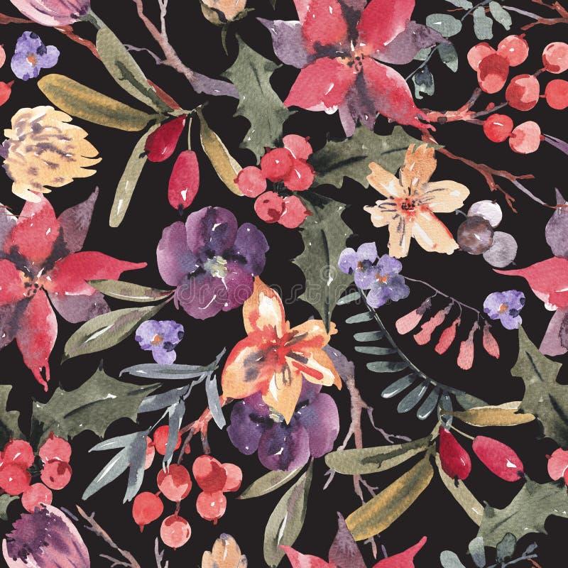 Modelo inconsútil con las ramas, acebo de la acuarela floral del invierno stock de ilustración