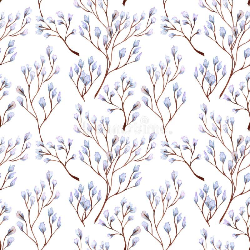Modelo inconsútil con las ramitas abstractas Elementos decorativos del dise?o floral Diversas hojas dan dibujado con la acuarela ilustración del vector