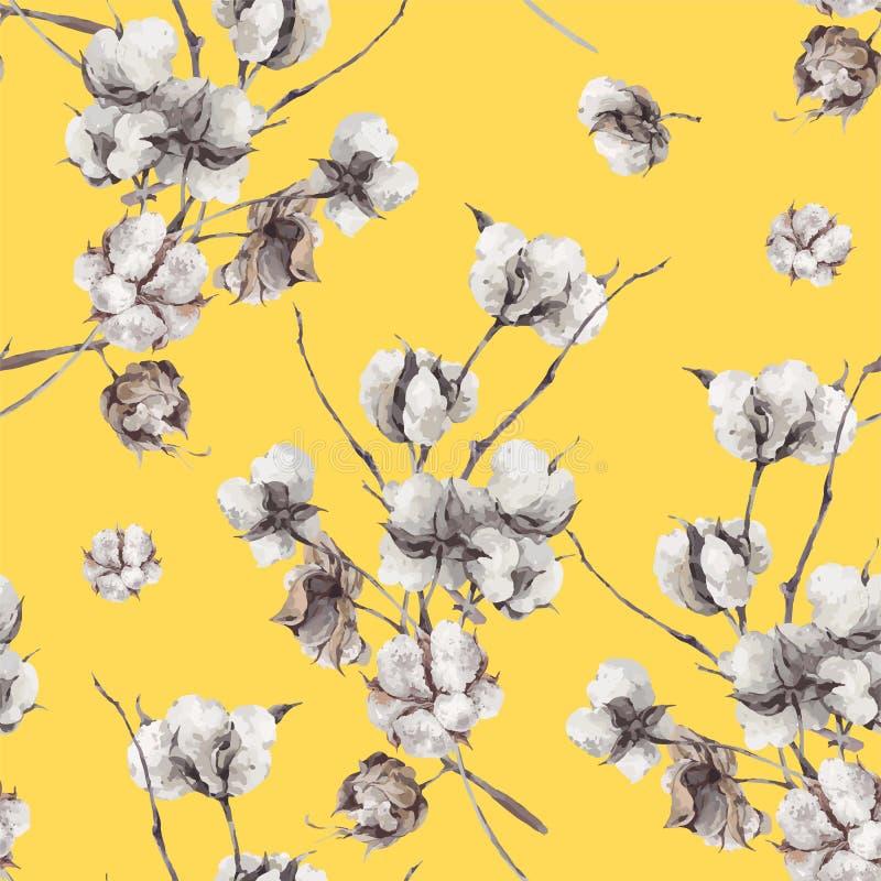 Modelo inconsútil con las ramitas y las flores del algodón ilustración del vector