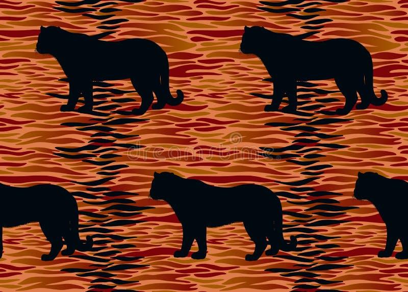 Modelo inconsútil con las rayas de la piel del tigre y las siluetas animales libre illustration