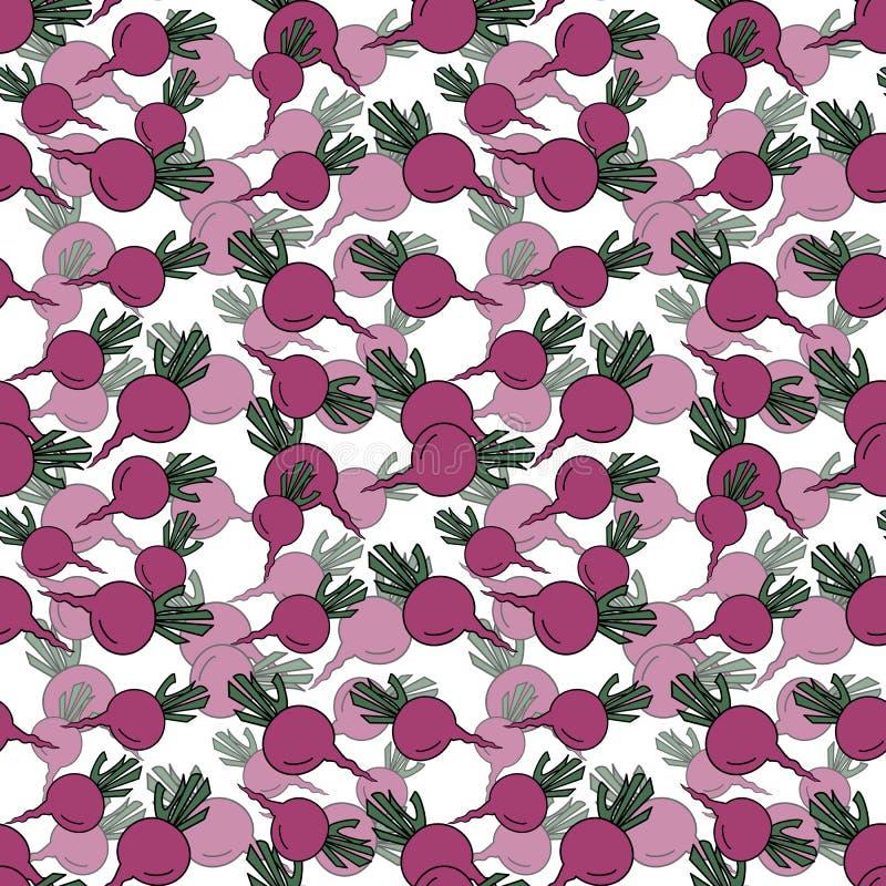 Modelo inconsútil con las remolachas rosadas exhaustas de la mano en el contexto blanco ilustración del vector