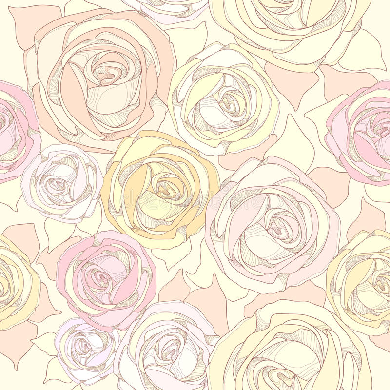Modelo inconsútil con las rosas stock de ilustración
