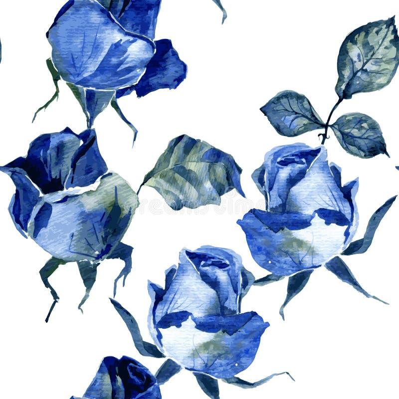 Modelo inconsútil con las rosas azules stock de ilustración