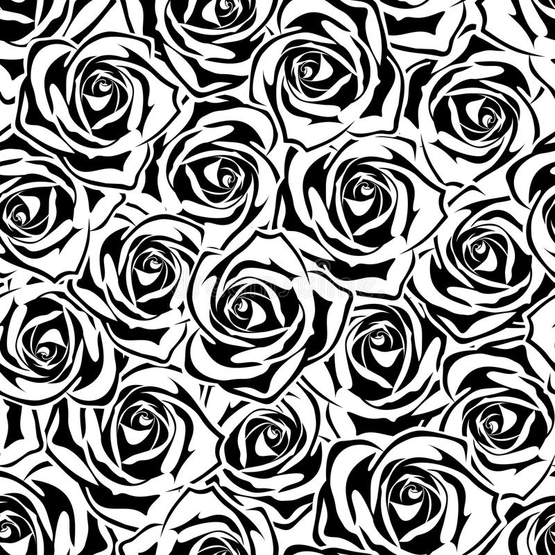 Modelo inconsútil con las rosas blancos y negros Ilustración del vector stock de ilustración