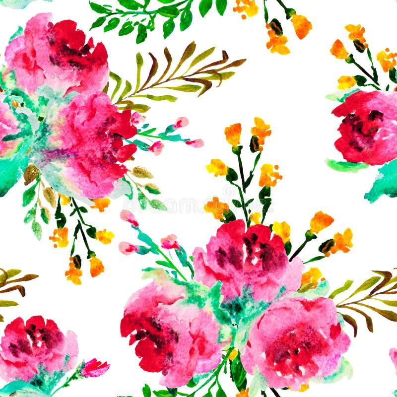 Modelo inconsútil con las rosas de la acuarela y otras flores ilustración del vector