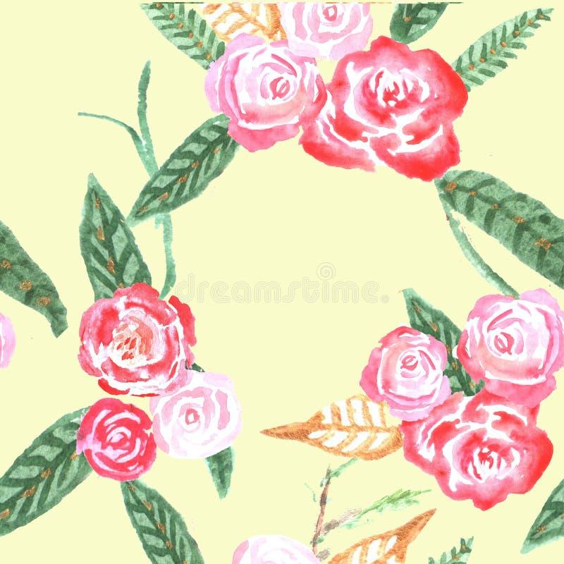 Modelo inconsútil con las rosas ilustración del vector