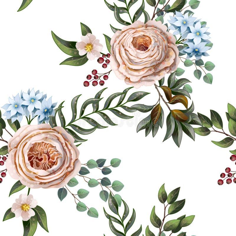Modelo inconsútil con las rosas inglesas y otras flores en stlyle de la acuarela Vector libre illustration