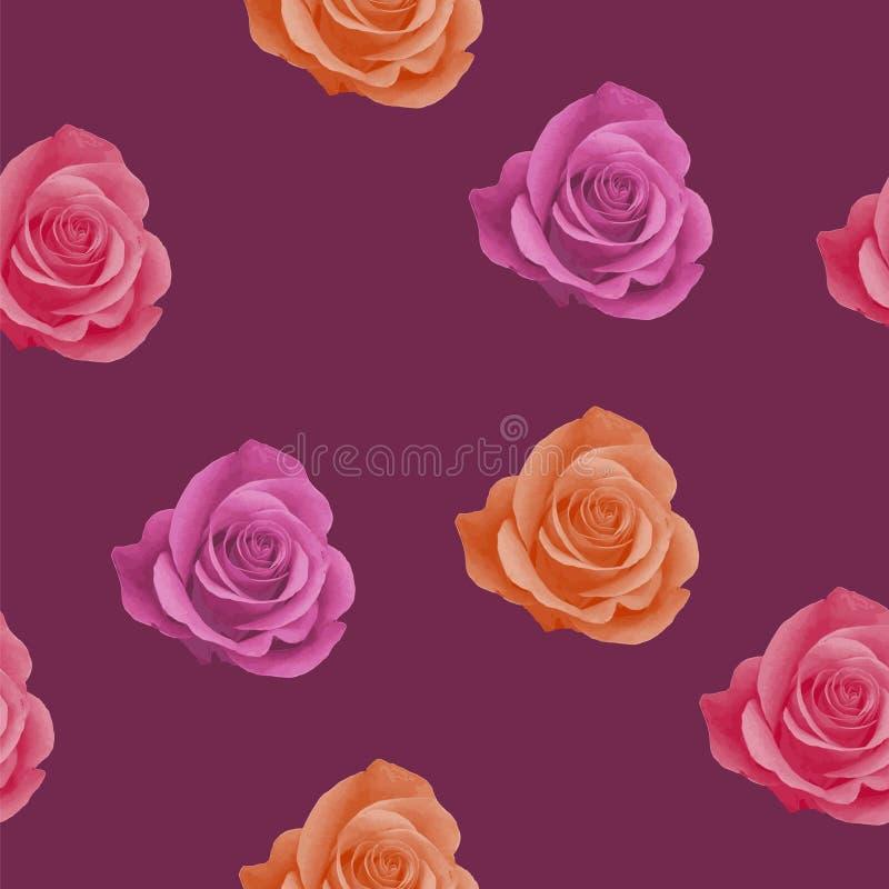 Modelo inconsútil con las rosas realistas del rosa, anaranjadas y rojas en fondo del color de vino tinto Diseño elegante para el  ilustración del vector