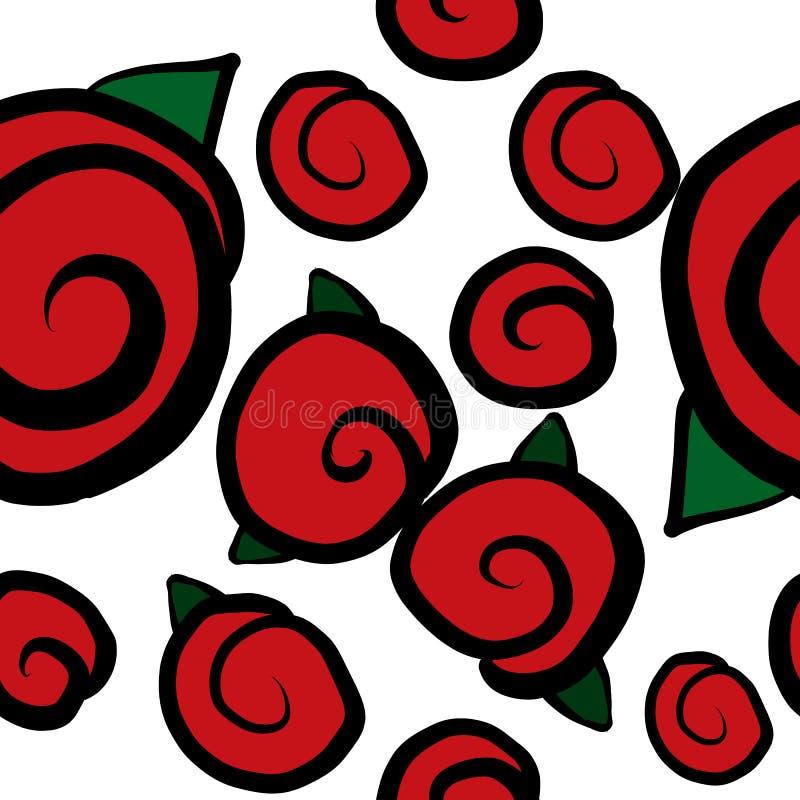 Modelo inconsútil con las rosas rojas stock de ilustración