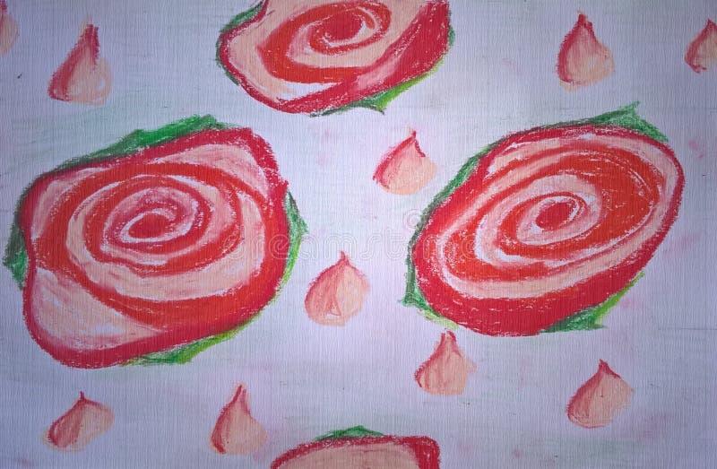 Modelo inconsútil con las rosas rojas abstractas y los pétalos color de rosa Dibujado a mano fotos de archivo