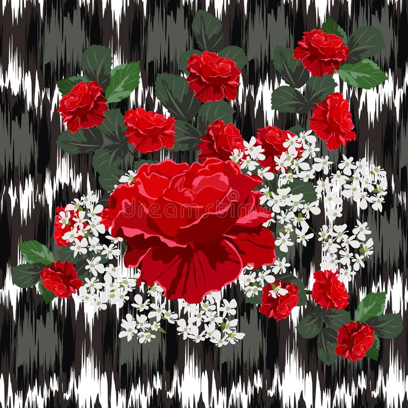 Modelo inconsútil con las rosas rojas hermosas en fondo con a ilustración del vector