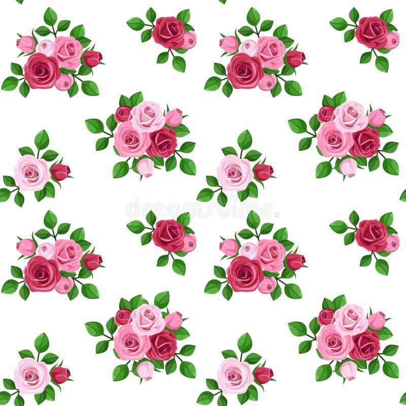 Modelo inconsútil con las rosas rojas y rosadas en blanco. libre illustration