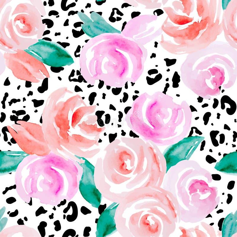 Modelo inconsútil con las rosas rosadas ilustración del vector