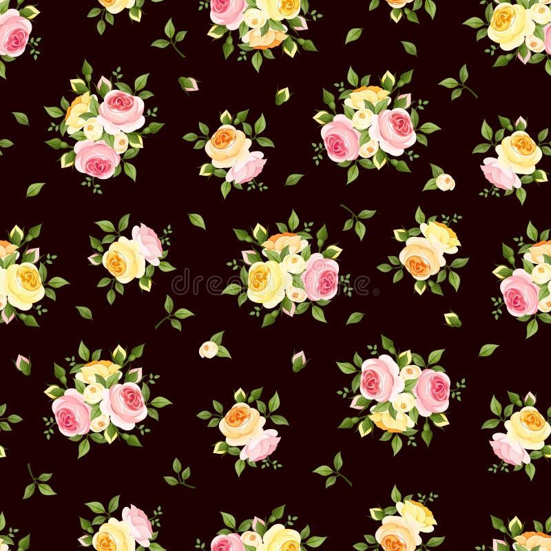 Download Modelo Inconsútil Con Las Rosas Rosadas, Anaranjadas Y Amarillas En Marrón Ilustración Del Vector Ilustración del Vector - Ilustración de marrón, diseño: 41908906