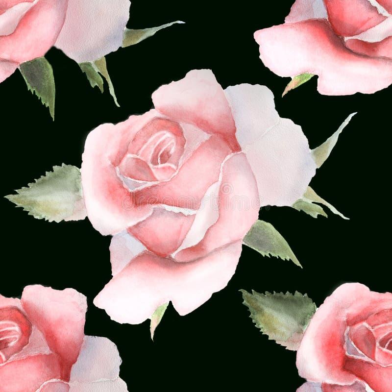 Modelo inconsútil con las rosas rosadas de la acuarela en negro libre illustration