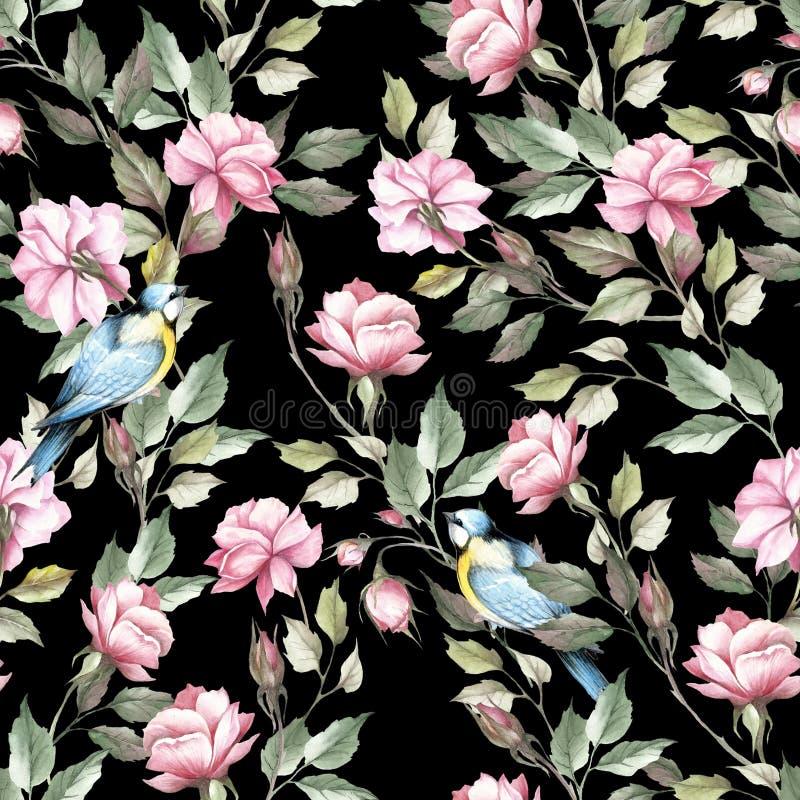 Modelo inconsútil con las rosas y el pájaro Ejemplo de la acuarela del drenaje de la mano libre illustration