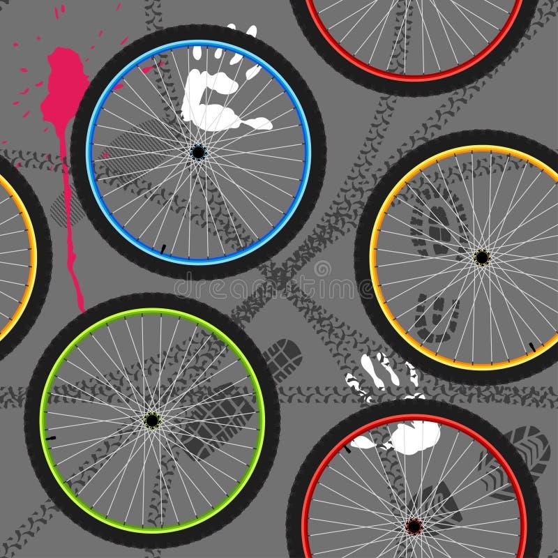 Modelo inconsútil con las ruedas de bicicleta ilustración del vector